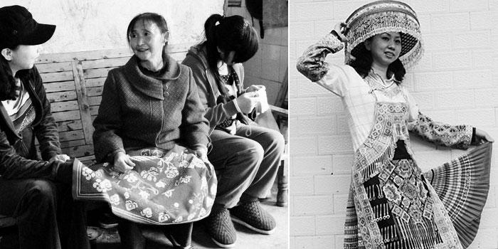陶褔芝向客人介绍刺绣制作工艺(左)/(右)客人试穿她的作品
