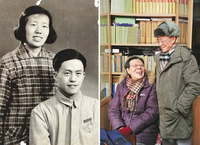 【皮朝纲与夫人年轻时的照片(左) / (右)12月23日,皮朝纲与老伴在家里。】