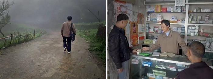 孙地言行走在村路上(左) / (右)孙地言在门诊里正帮人取药