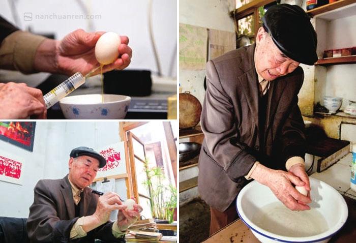 【傅品金创作蛋壳画的过程】